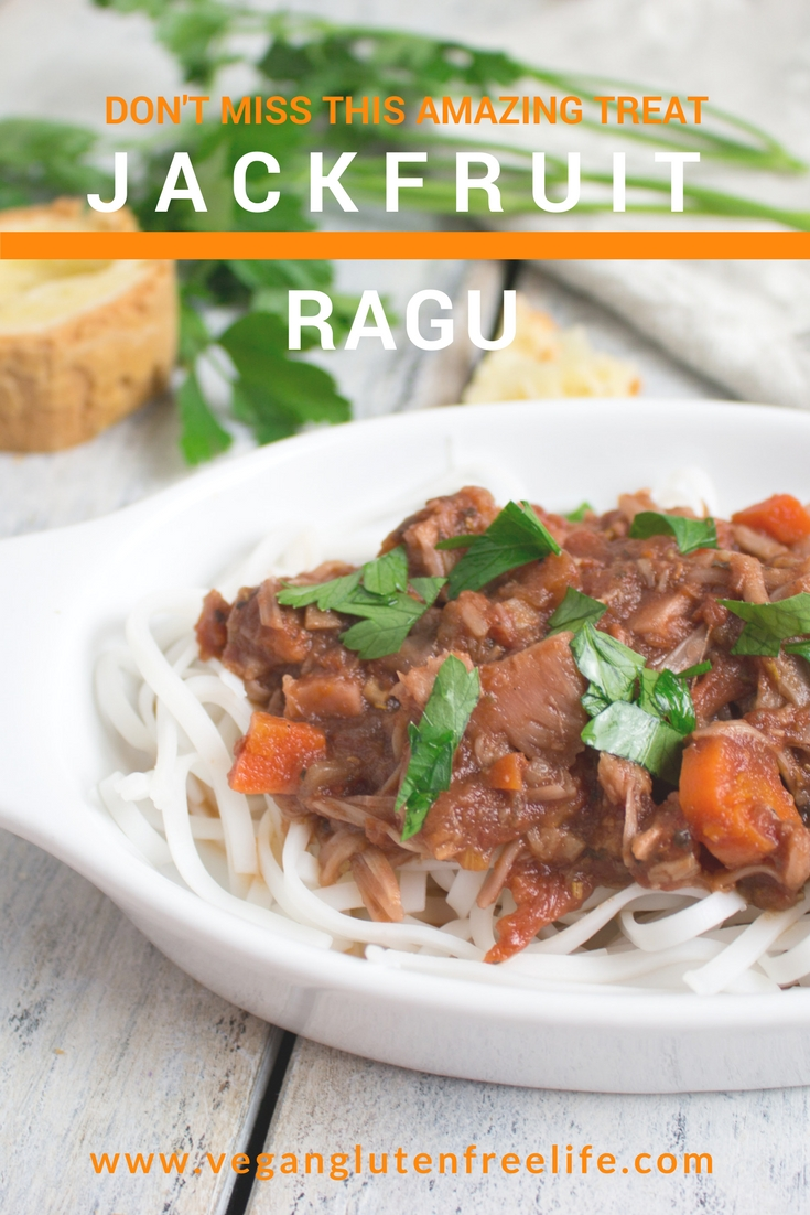 Jackfruit ragu is a vegan version of an old Italian favorite. Great made in an Instant Pot or crockpot. Can't beat a meal made with tomatoes, onions, garlic, red wine, veggies, herbs, spices and a pinch of yummy goodness!