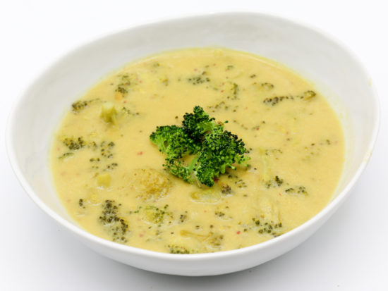 Easy Vegan Broccoli Cheese Soup in a white bowl.